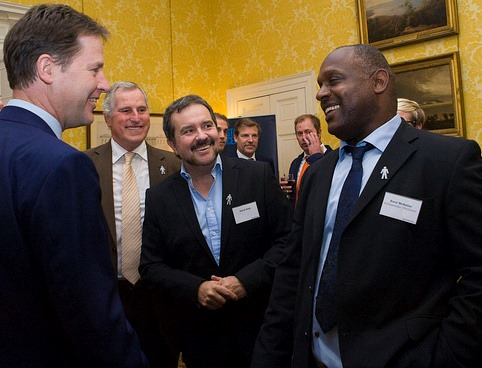 Nick Clegg with Men United stars David Kurke and Errol Mckellar