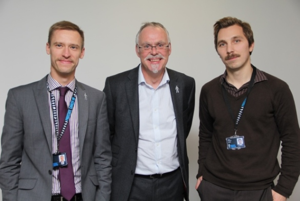 The Prostate Cancer UK Research team mo bros: Matthew Hobbs, Iain Frame and Simon Griveson